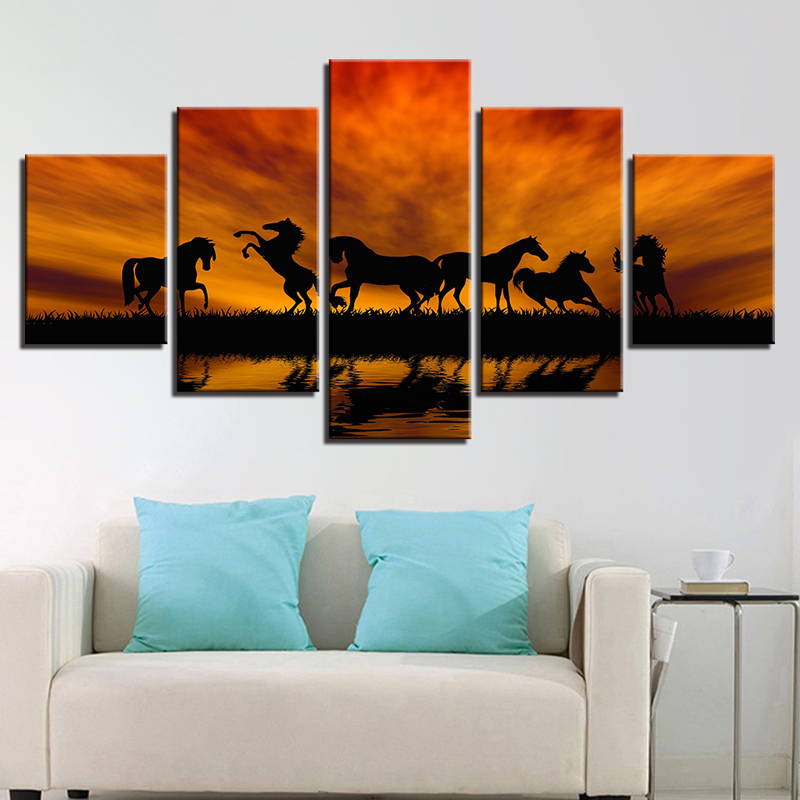 5Pcs Large Canvas Modern Home Wall Decor Art Oil Painting Picture Print UnFramed