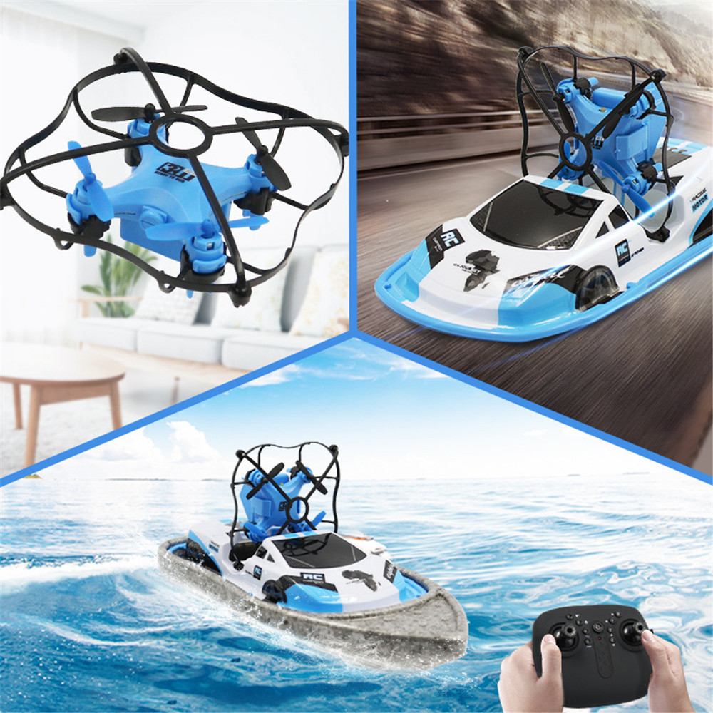 Global Drone GW123 2.4G 3 in 1 RC Boat Drone Car Sea Air Land Mode Aircraft Vehicles RTR Model