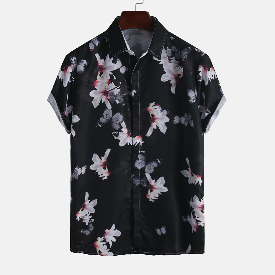 Men Floral Print Casual Short Sleeve Beach Shirts