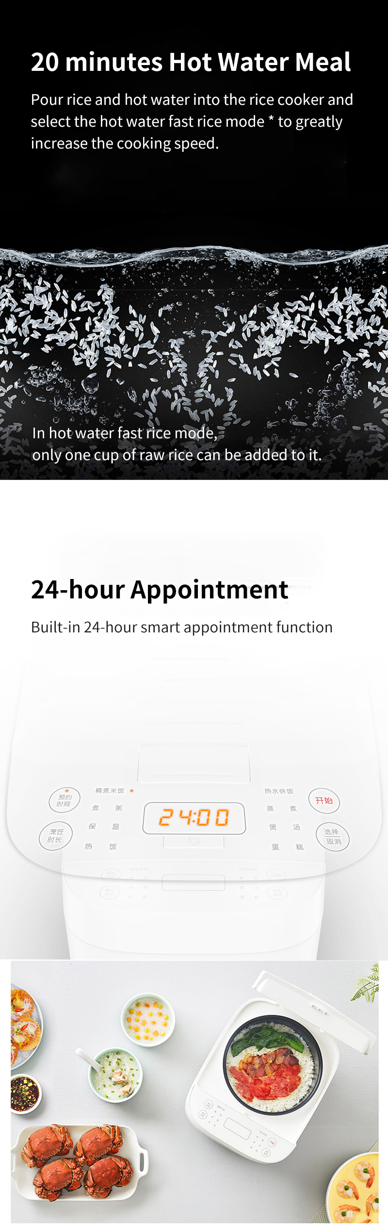 Xiaomi Mijia 3L Capacity 650W Rice Cooker C1 24 Cooking Modes 24-hour Appointment 4-hour cooking