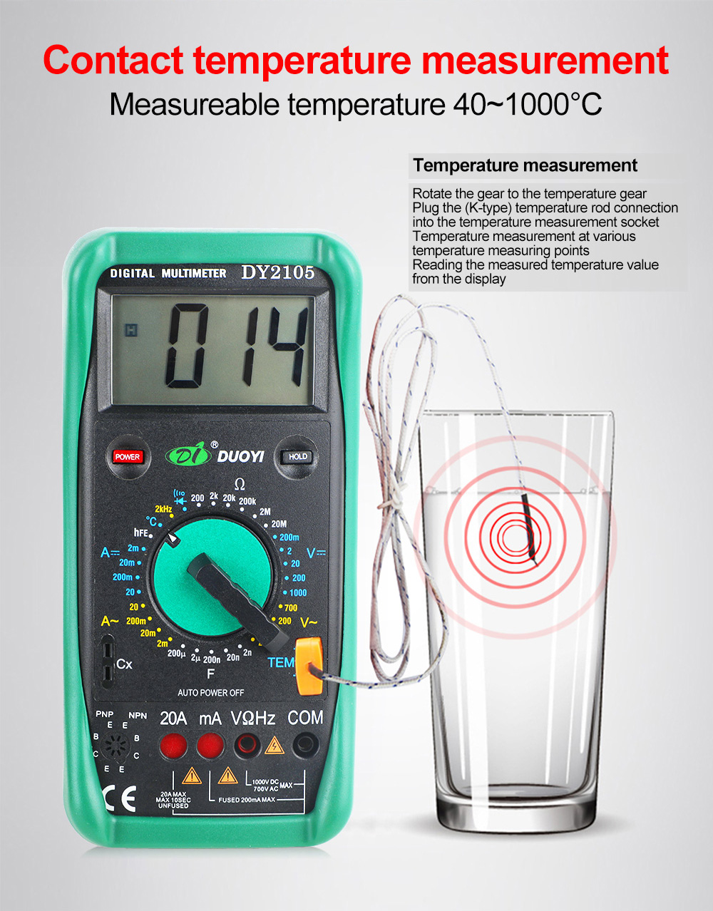DUOYI DY2105 Multifunction Digital Multimeter Multimetro Transistor Capacitor Temperature And Frequency Measurement