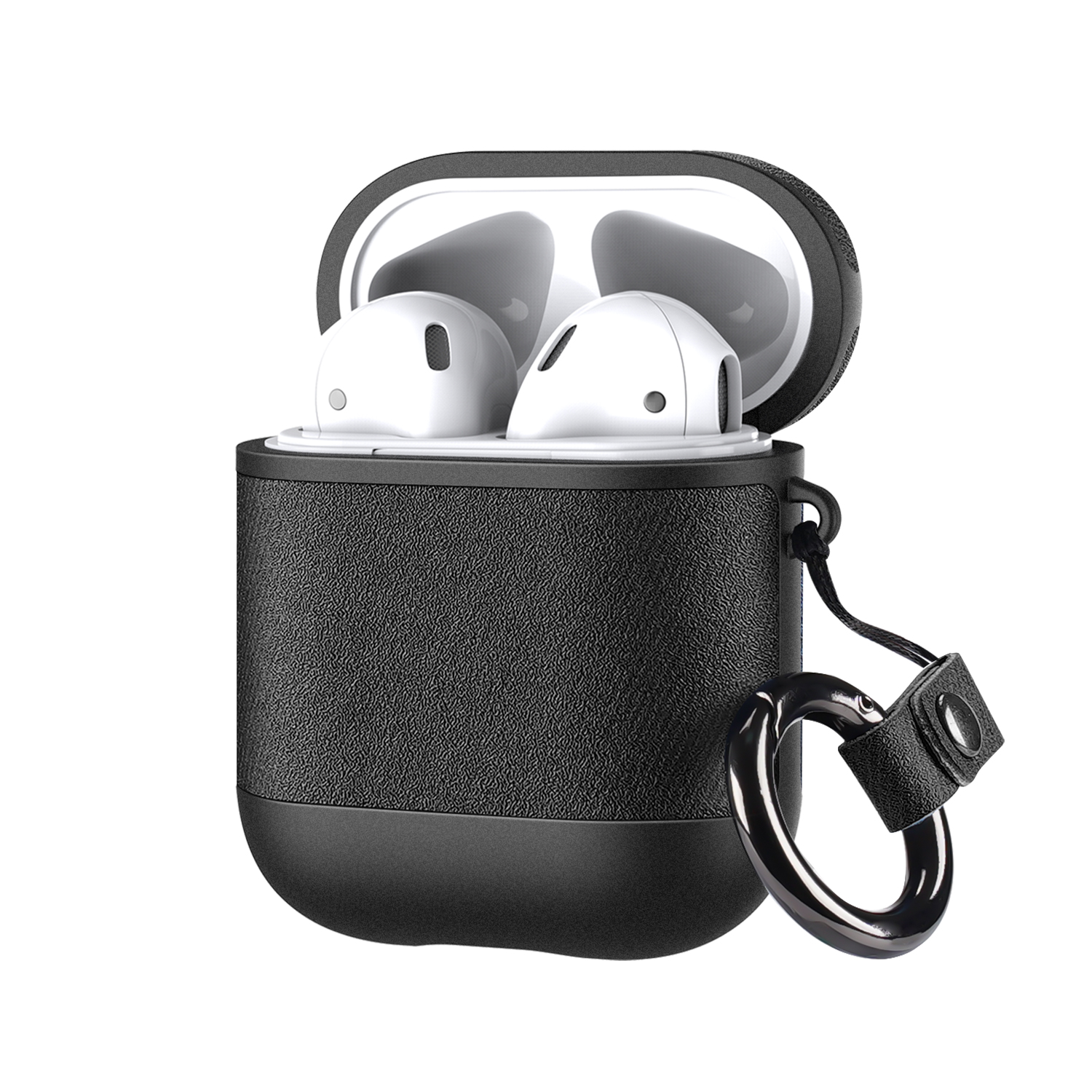 DUX DUCIS Luxury PU Leather Shockproof Earphone Storage Case with Anti-lost Hook for Airpods 1 / AirPods 2