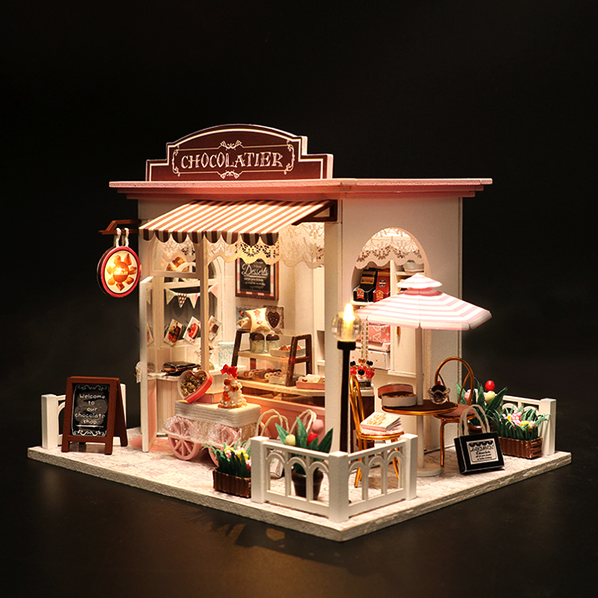 LED Wood DIY Cocoa's Whimsy Assemble Doll House with Sound Light Model Toy
