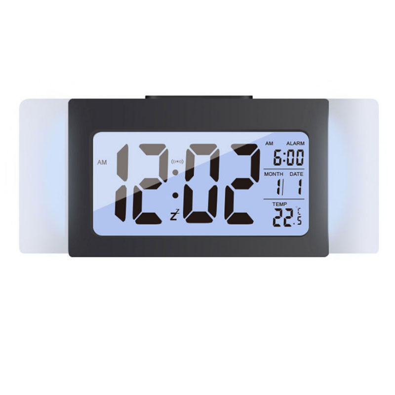 Smart Light Sense LCD 12/24H Alarm Clock Temperature Week Data Display Big Screen Mute Snooze Alarm Clock Office Home Decorations