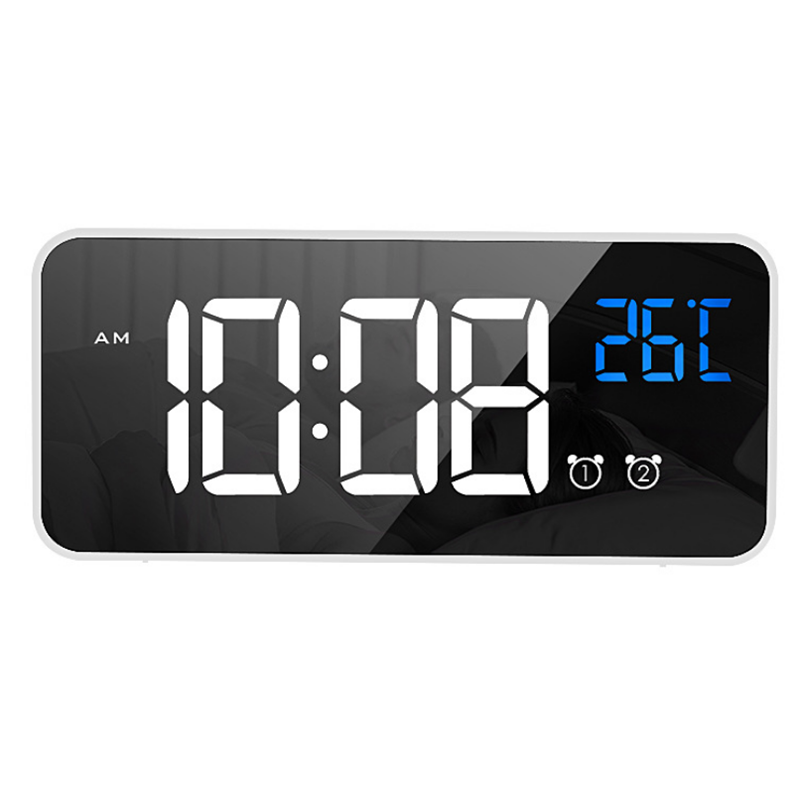 LD8808 Chargable Mirror LED Music Alarm Clock Dual Alarm Mode Temperature Display Desktop Clock