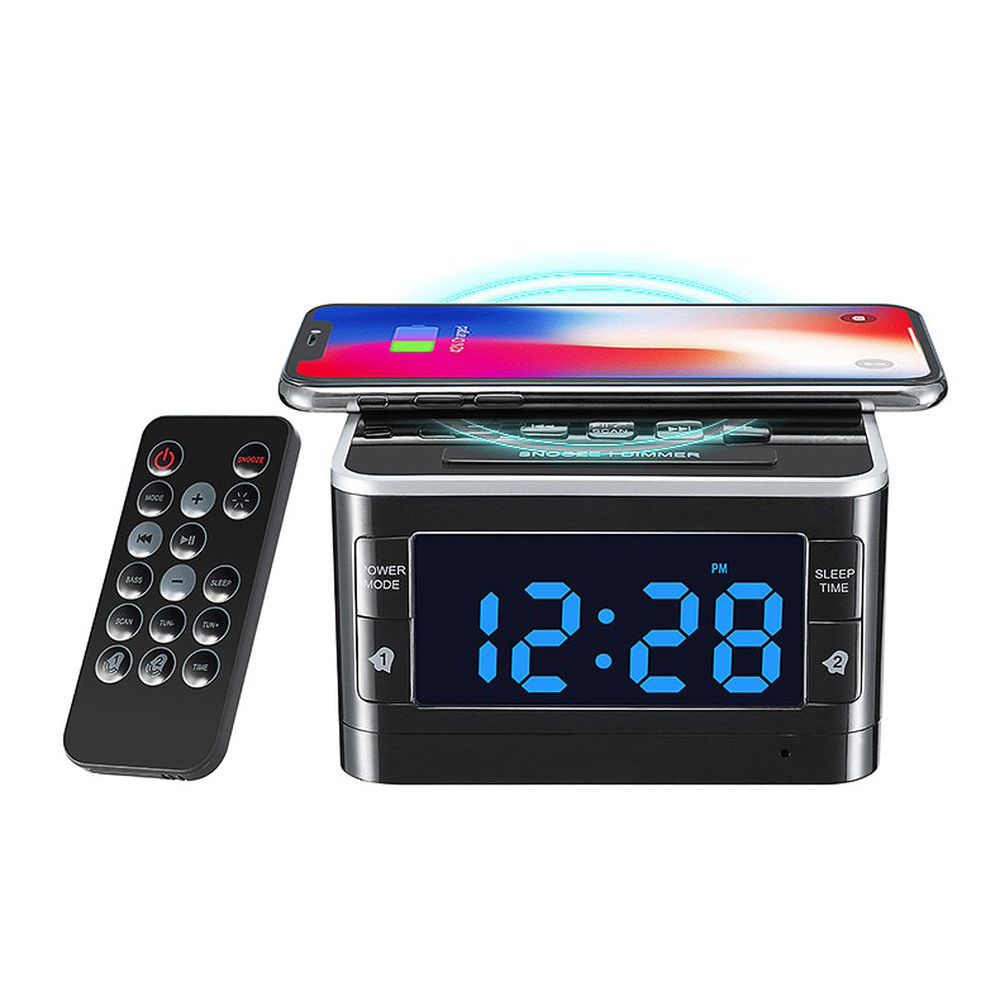 Qi Wireless Charging Bluetooth Speaker Alarm Clock Electric FM Radio Desktop Clock Music Player Home Decorations