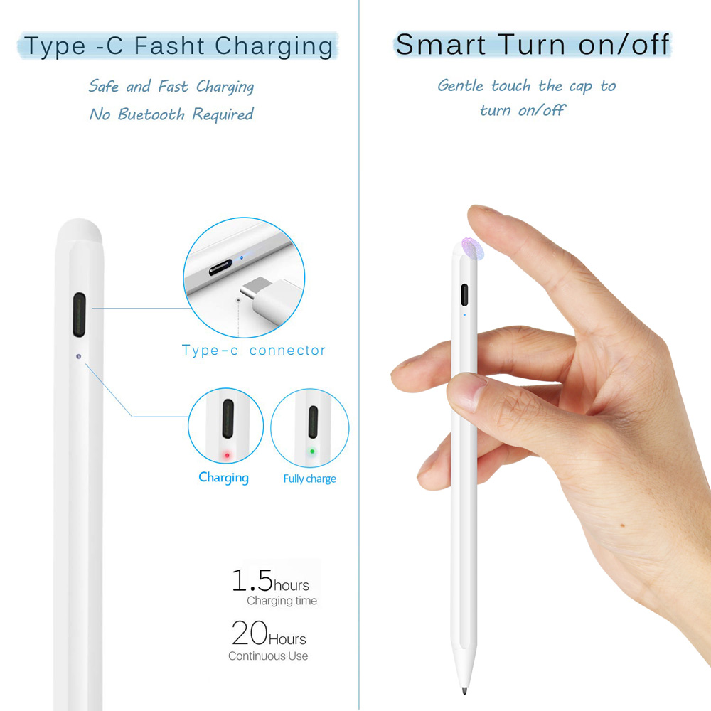 Bakeey Palm Rejection Active Capactive Touch Screen Stylus Pen for for iPad 9.7 Inch 2018/Pro 11 Inch 2018/Pro 12.9 Inch 2018/Mini 5 2019/Air 3 10.5 Inch 2019/for iPad 10.2 Inch 2019