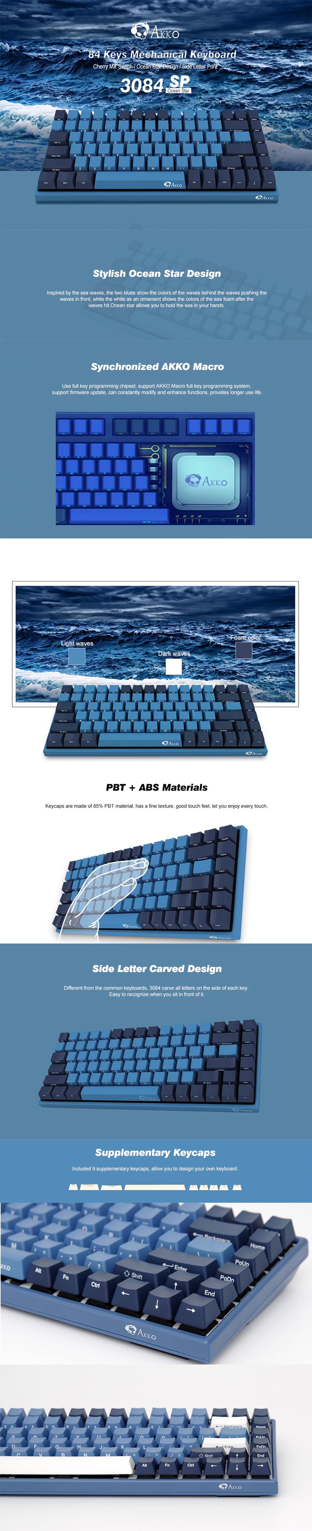 AKKO 3084 SP Ocean Star 84 Keys PBT Keycap Cherry Switch USB 2.0 Type-C Wired Side Letter Caverd Design Mechanical Gaming Keyboard 9