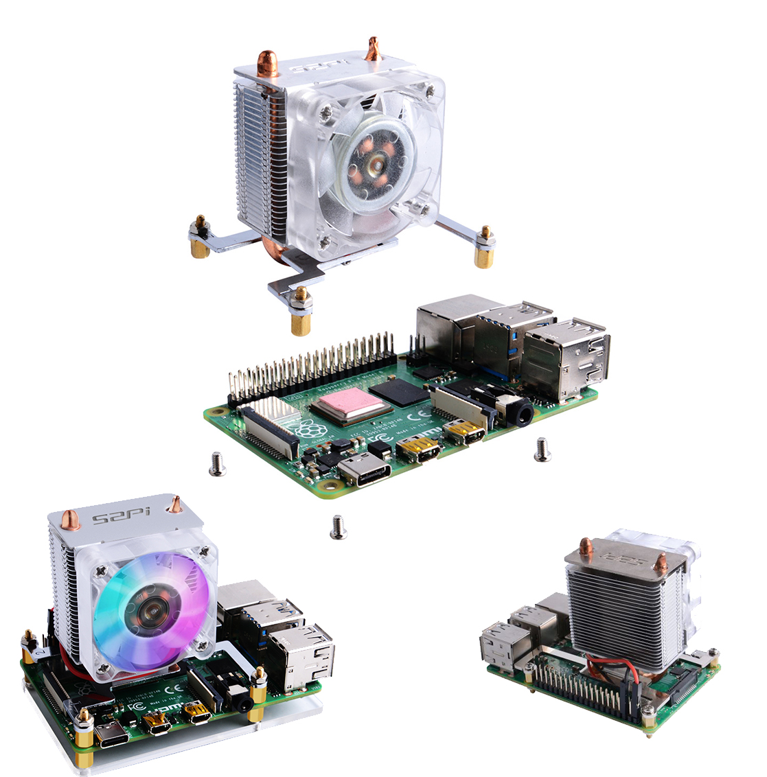 ICE-Tower CPU Cooling Fan V2.0 Super Heat Dissipation Different Colors LEDs for Raspberry Pi 3B+/4B