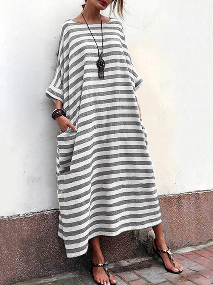 Eachine1 / Women Striped Crew Neck Loose Baggy Maxi Dress