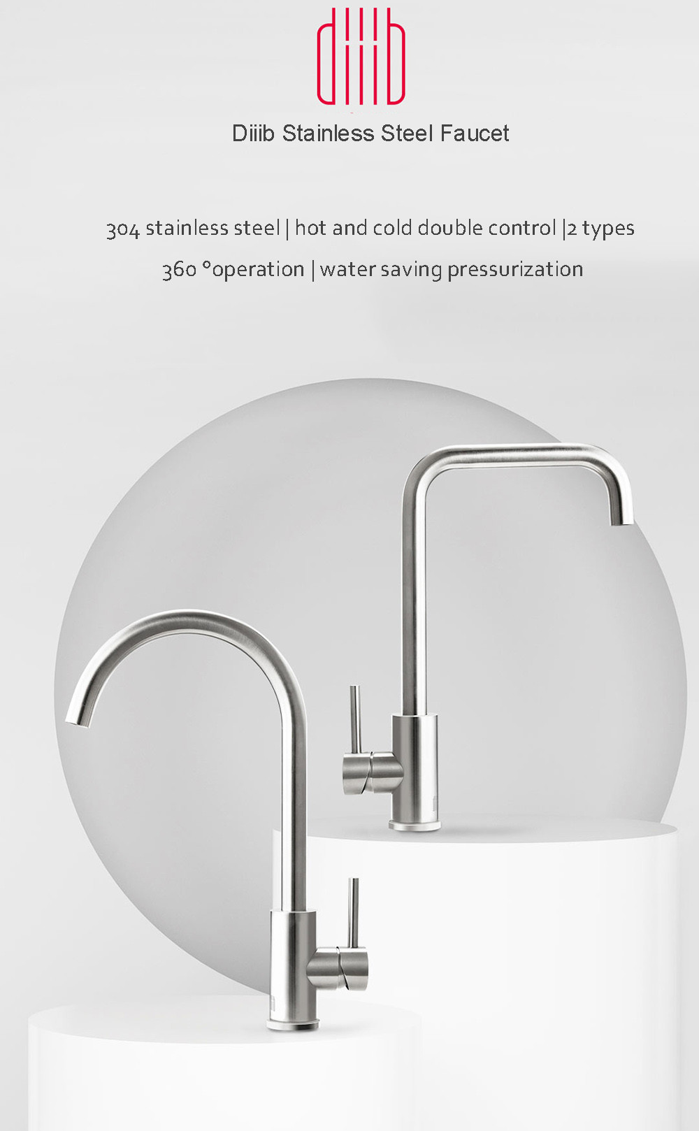 Diiib Stainless Steel Kitchen Basin Sink Faucet Tap 360° Rotation Hot Cold Mixer Tap Single Handle Deck Mount from Xiaomi Youpin