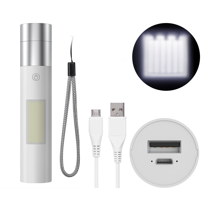 Mentch X7 T6/XPE 15W 4Modes Zoomable USB Rechargeable Waterproof Mini LED Flashlight 18650 Flashlight with Side Lamp