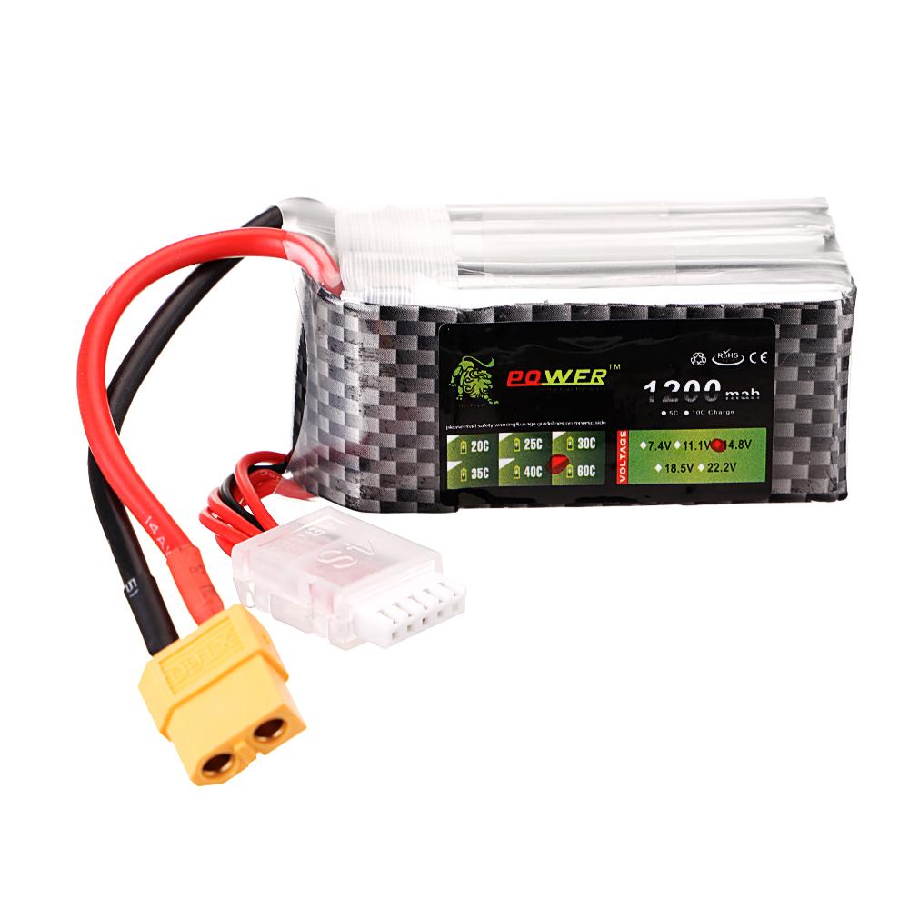 LION Power 14.8V 1200mAh 60C 4S Lipo Battery XT60 Plug for FPV RC Drone