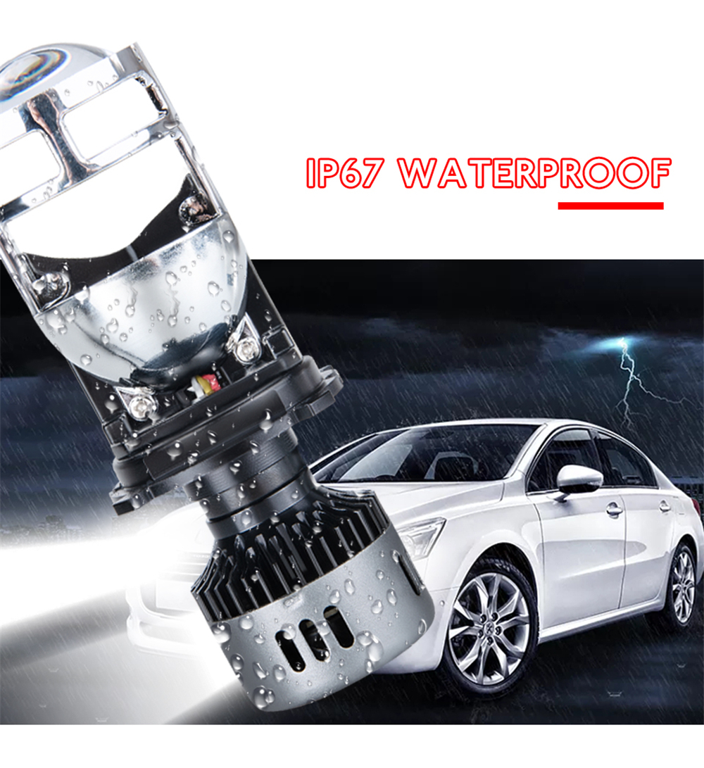 G9 H4 LED Headlights with Mini Projector Lens Hi/Lo Beam Bulb 60W 9600LM 6500K White for Car Motorcycle