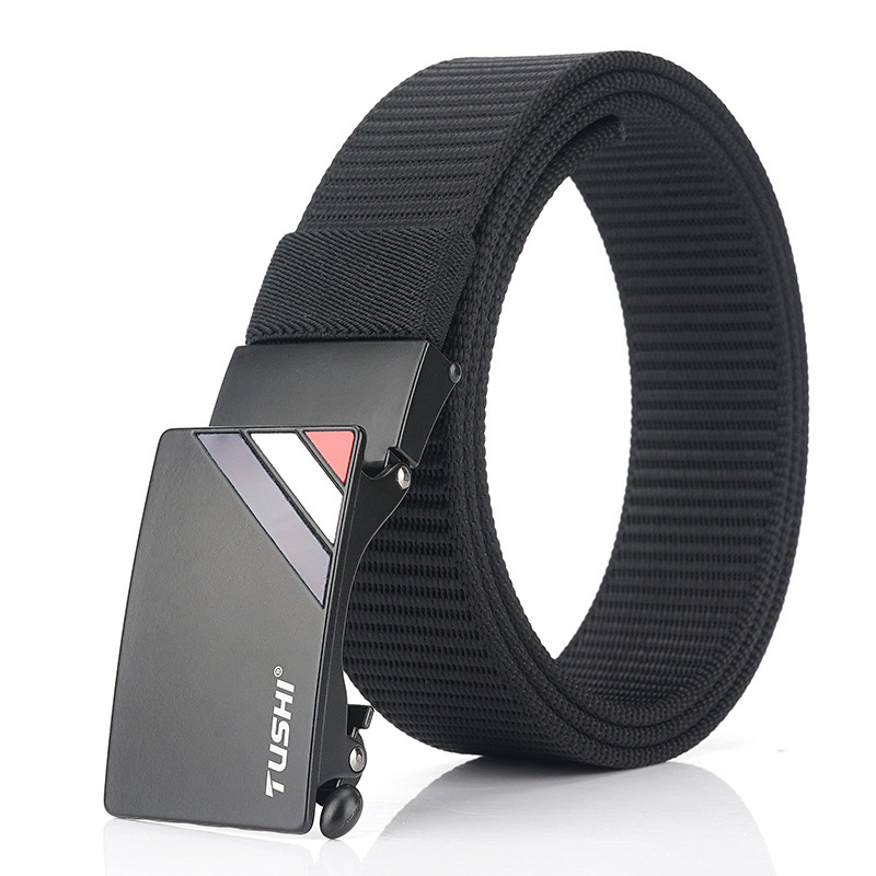 TUSHI 125cm Thick Nylon Belt Metal Buckle Business Tactical Belt