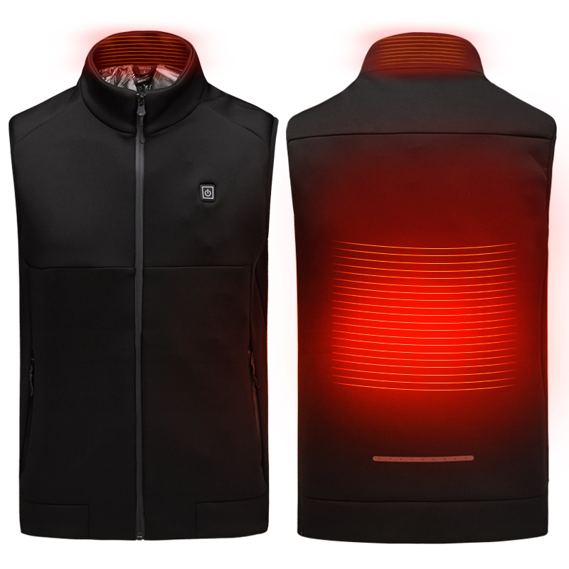 Electric USB Heated Warm Back Cervical Spine Hooded Winter Jacket Motorcycle Skiing Riding Coat
