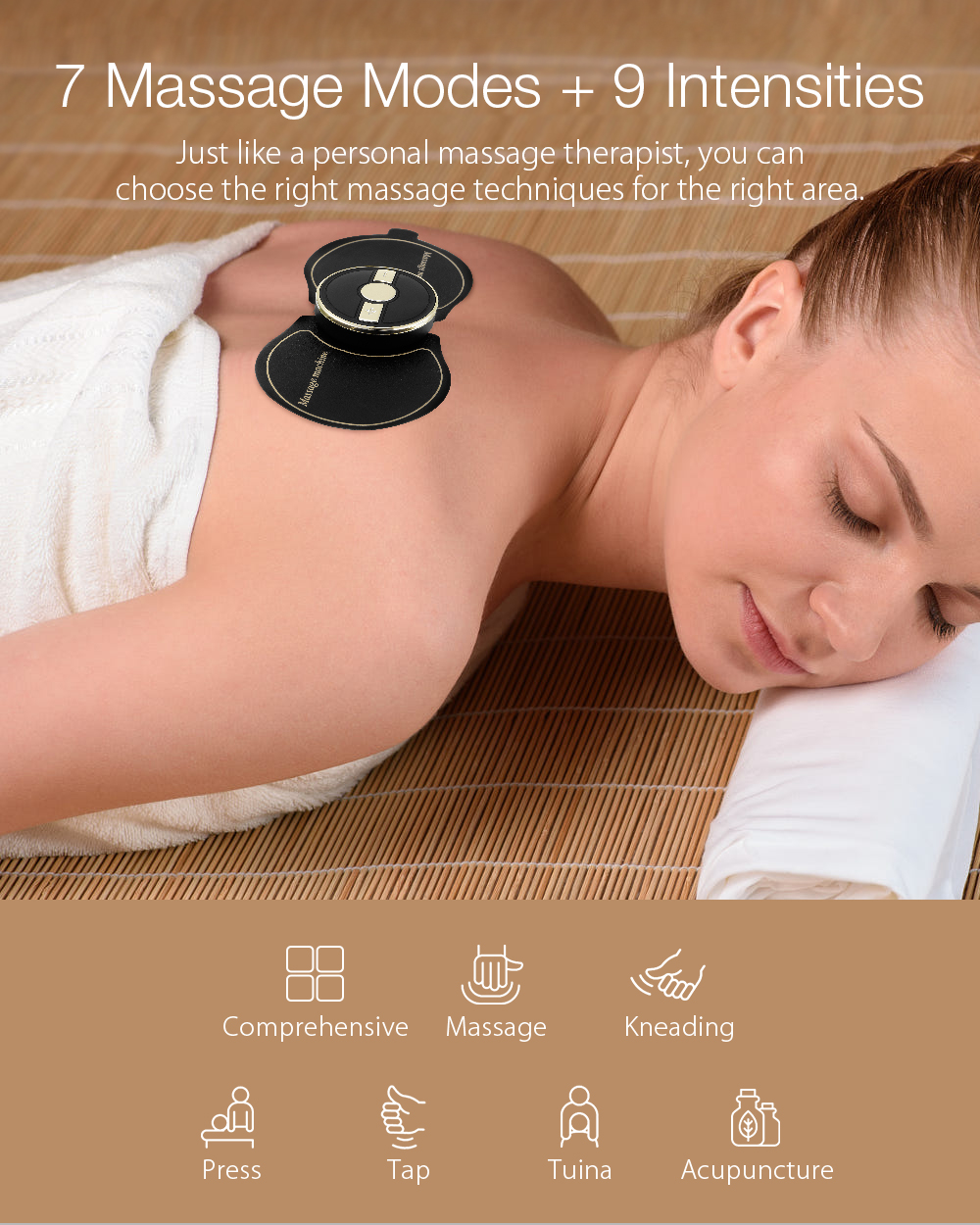 DIGOO DG-PM04 Gold Frame 6 Modes Electronic High-Frequency Pulse Massager 9 Gears Intensity Adjustment Electrode Pad