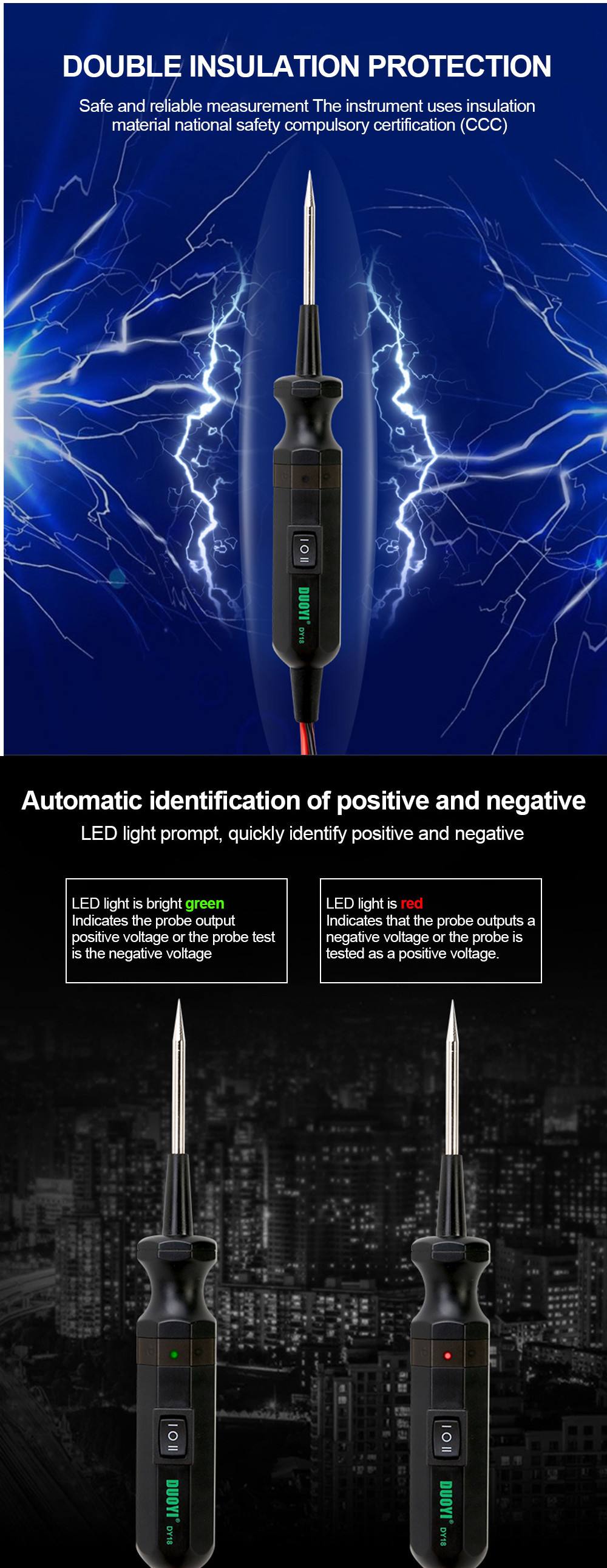 DUOYI DY18 Car Circuit Tester Power Probe Automotive Electrical Current Voltage Scanner Tool 6-24V
