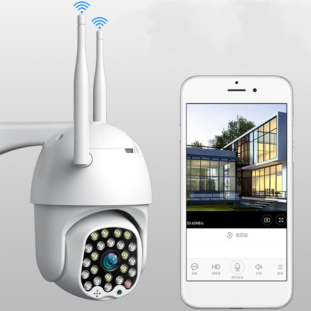 Bakeey 23 LED 1080P 5MP Smart Dome Speed Camera Two-way Audio Full Color Night Vision IP66 Waterproof Automatic Tracking CCTV Home Security Monitor