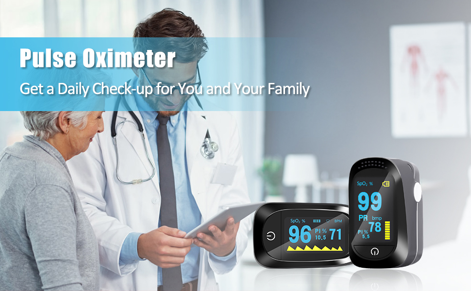 Portable OLED Pulse Oximeter Home Detection Finger Tip Oximeter Sleep Monitoring Heart Rate PI for Adult and Children with SpO2 Pulse Oximeter
