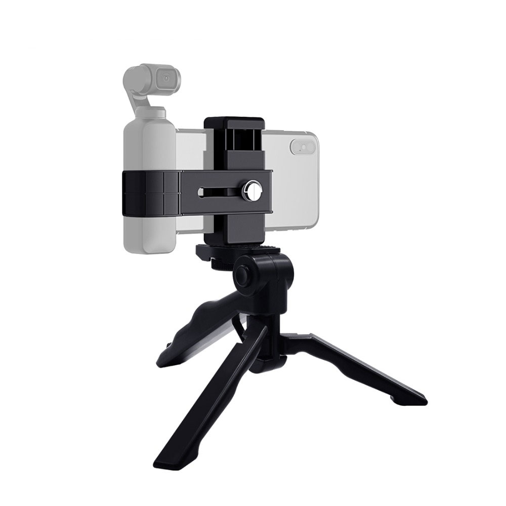 PULUZ PKT46 Smartphone Fixing Clamp 1/4 inch Holder Mount Bracket Grip Foldable Tripod for DJI OSMO Pocket Gimbal Sports Action Camera