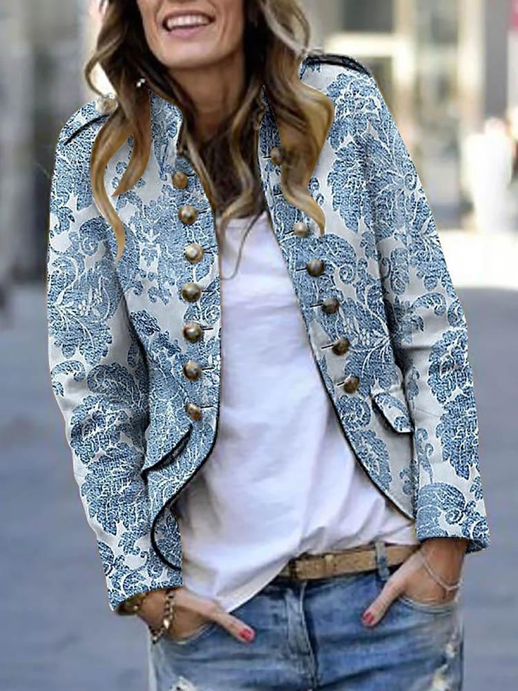 Женская повседневная куртка с длинным рукавом с принтом