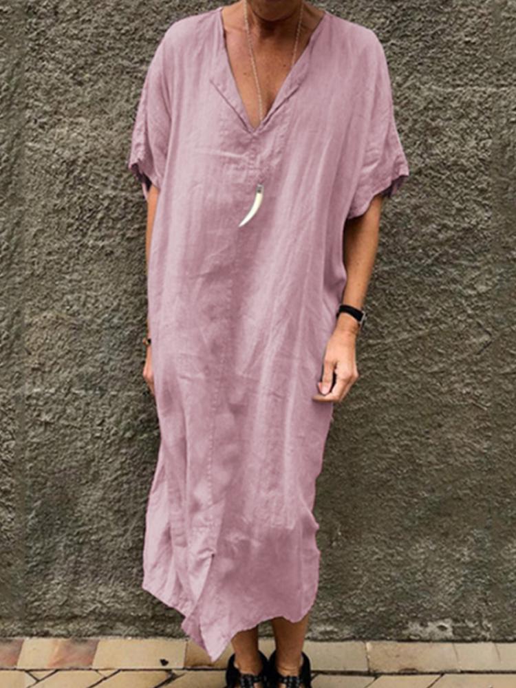 Eachine1 / Einfarbig V-Ausschnitt Kurzarm Split Baggy Kaftan Kleid