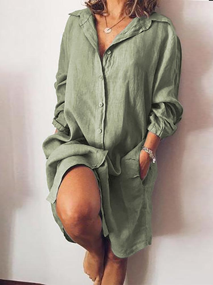 Women Long Sleeve V-neck Button Pocket Dress