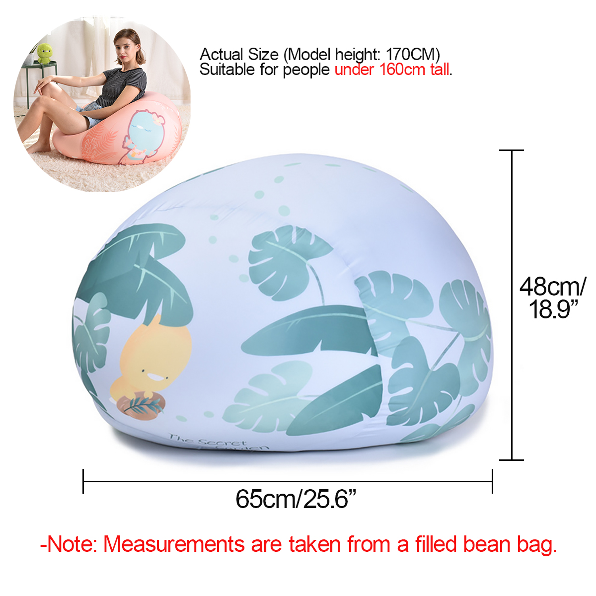 65 Diameter Bean Bag Cloth Spandex Stretch Cloth Multicolor Lazy Sofa
