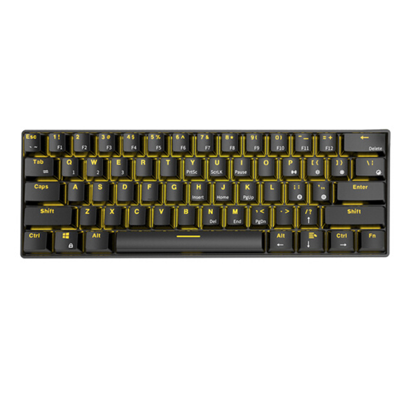 Royal Kludge RK61 bluetooth Wired Dual Mode 60% Golden / Ice Blue Backlit Mechanical Gaming Keyboard – Blue Switch Black