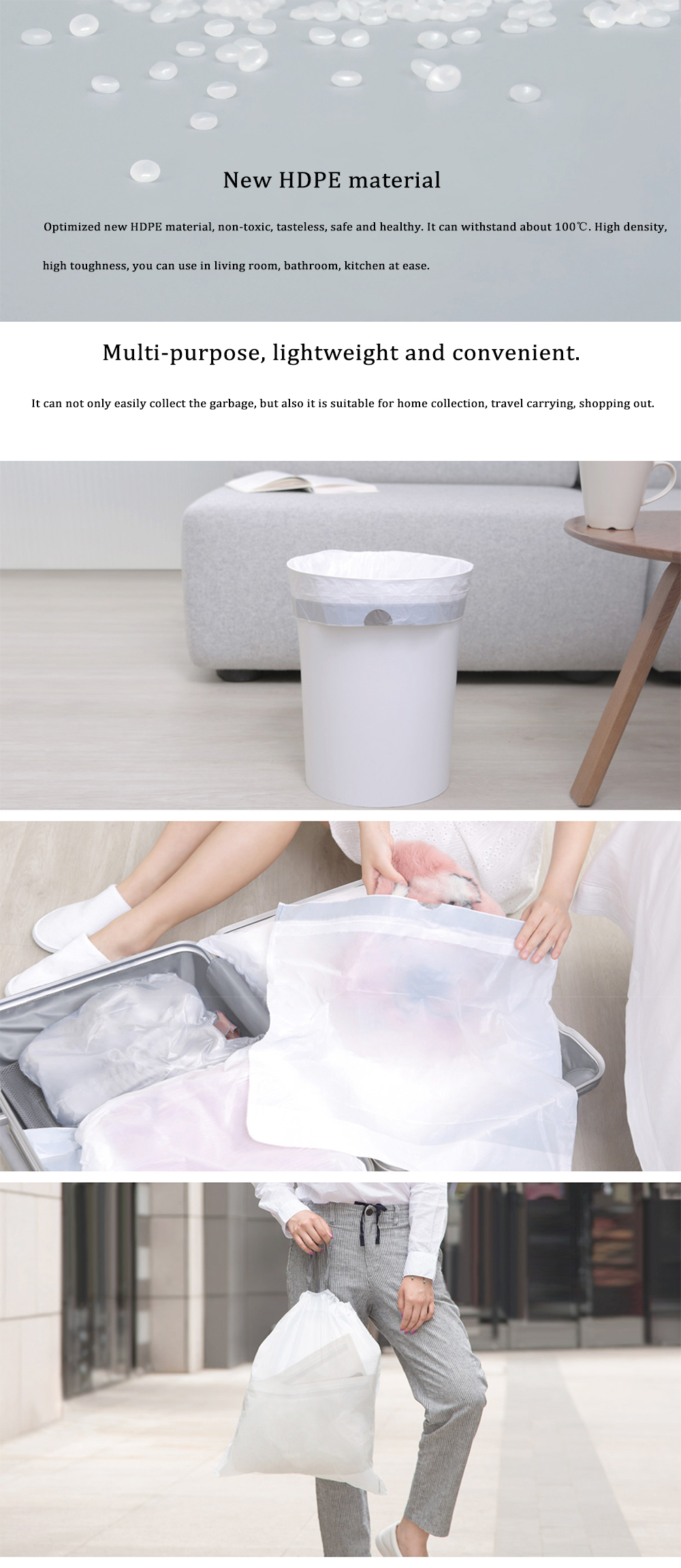 Xiaomi MIJOY 60Pcs/Set Three Rolls Drawstring Garbage Bag Plastic Trash Bags Kitchen Bedroom Rubbish Bags Thicker Bags Strong Bearing Capacity No Leakage