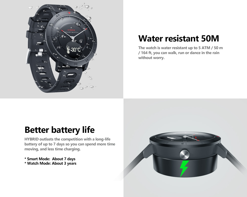 Zeblaze HYBRID Heart Rate Blood Pressure Monitor Real-time Weather Temperature Goal Reminders Dual Modes Mechanical Hands Smart Watch 24