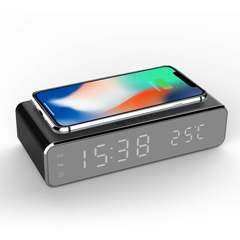Electric LED 12/24H Alarm Clock With Wireless Phone Charger 6