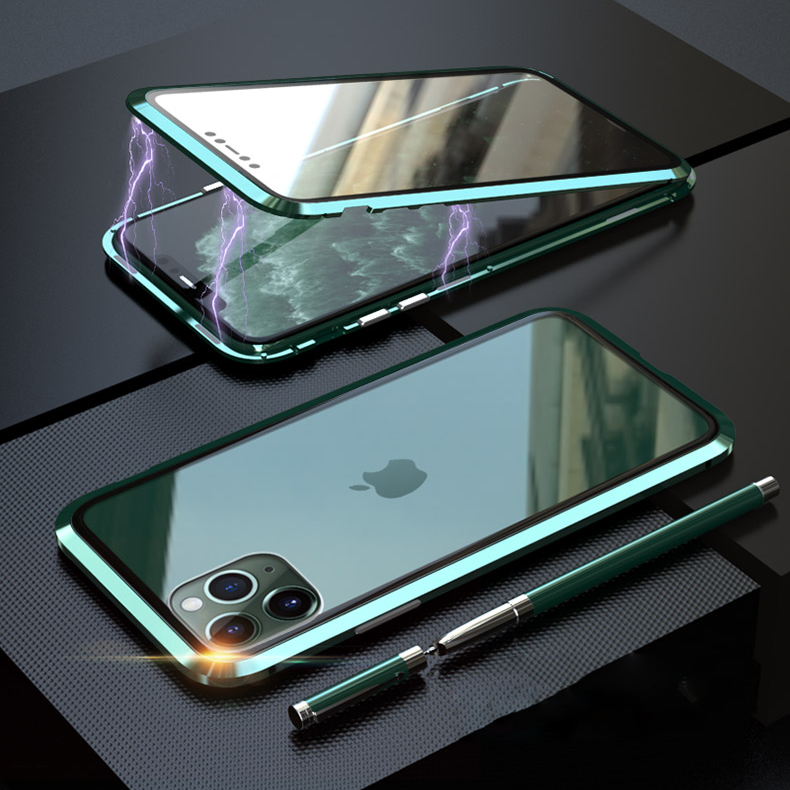 Bakeey Plating Magnetic Adsorption Metal Double-sided Tempered Glass Protective Case For iPhone 11 Pro 5.8 Inch