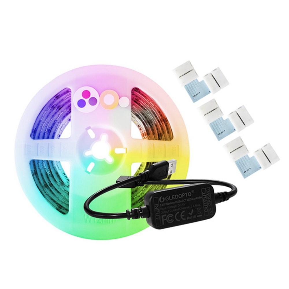 Eachine1 / GLEDOPTO DC5V 2M USB RGB + CCT Smart TV Computadora LED Tira de luz + Conectores 3PCS para Zigbee Hue Echo