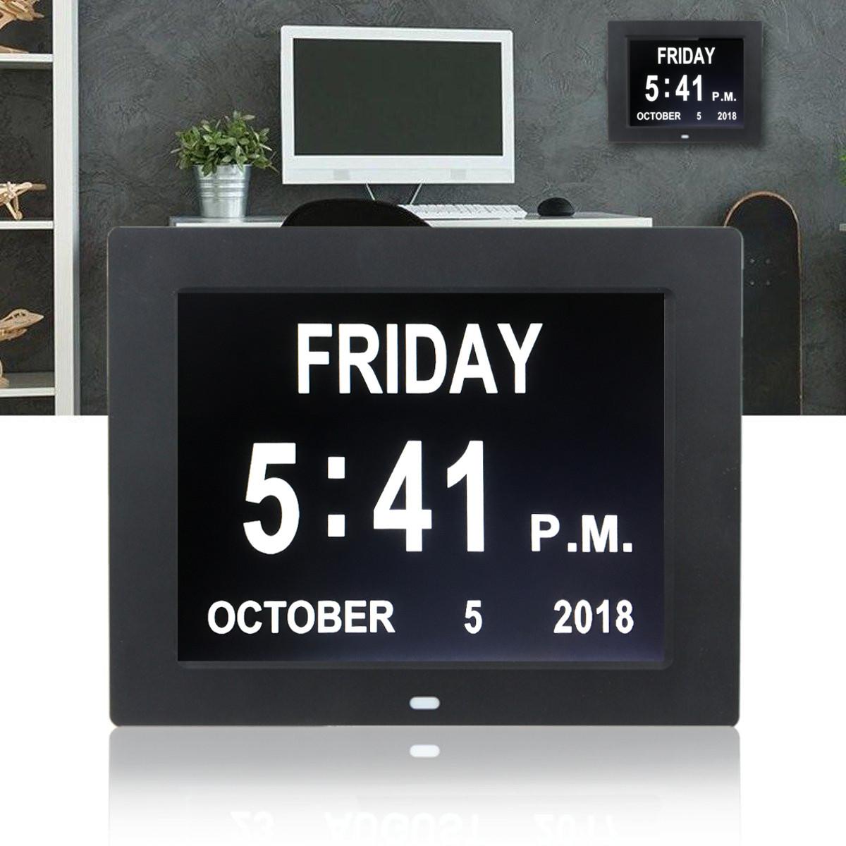 Digital Day Clock LED Calendar Dementia Alarm Time Date Month Year Memory Gift