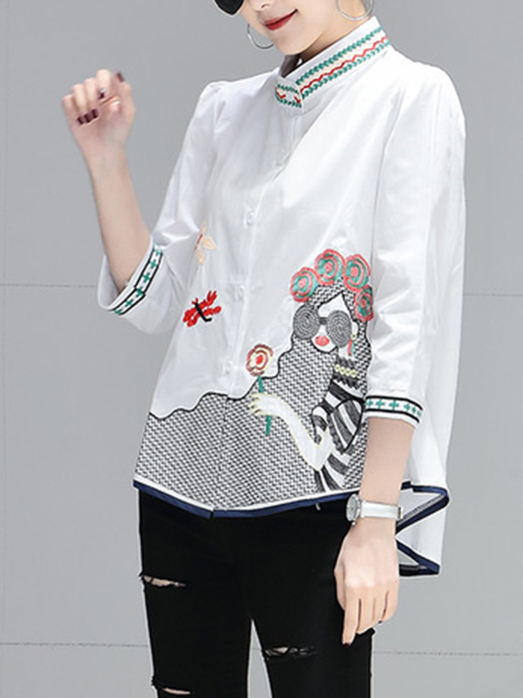 Eachine1 / Embroidered Stand Collar Long Sleeve A-line Blouse