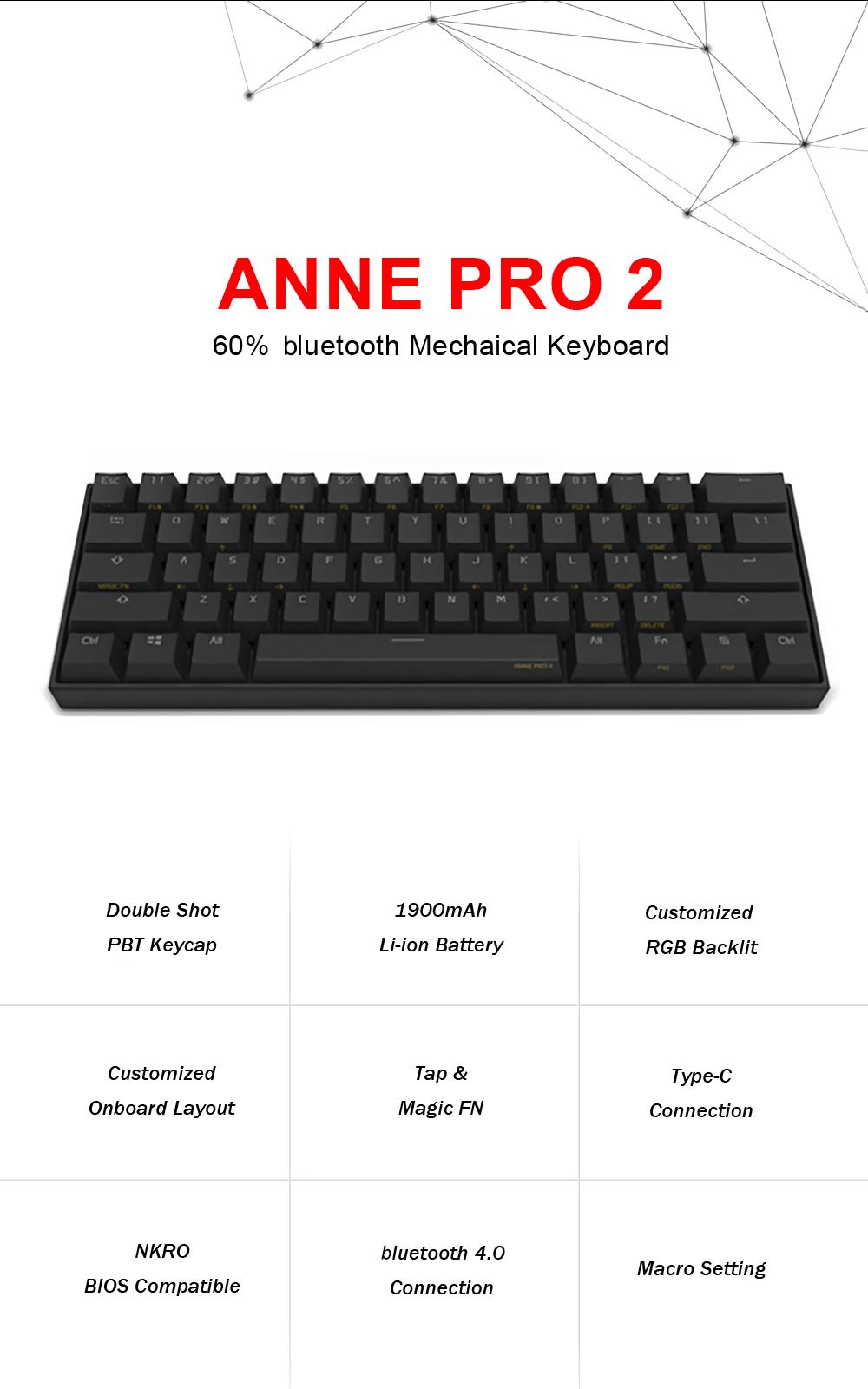 [Gateron Switch]Anne Pro 2 60% NKRO bluetooth 4 0 Type-C RGB Mechanical  Gaming Keyboard