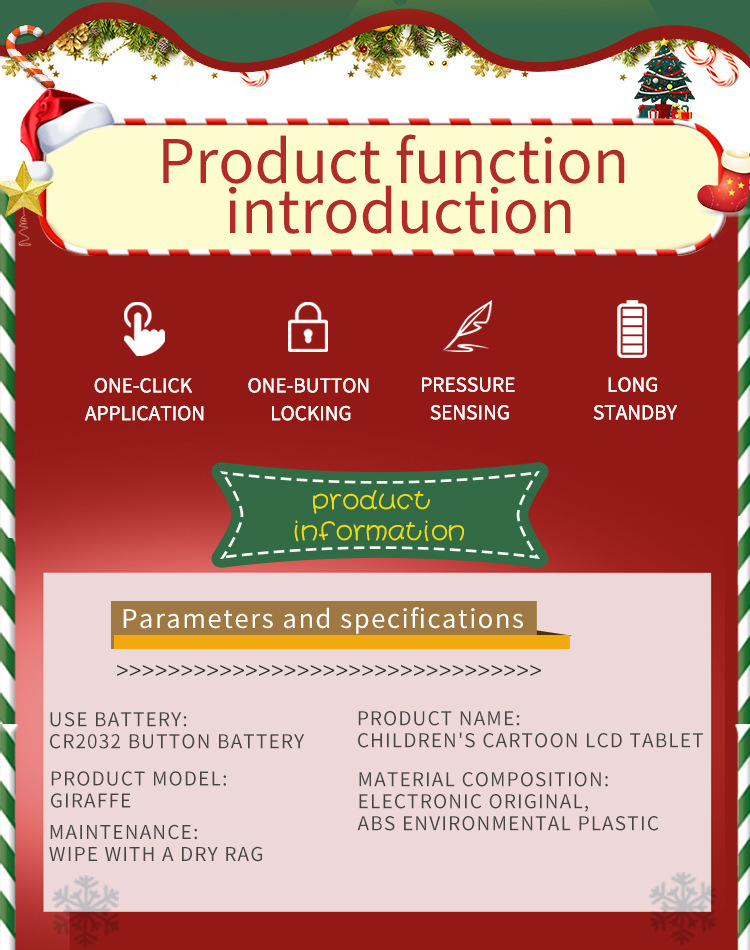 IEKUCO Christmas LCD Writing Tablet with Pen Digital Drawing Handwriting Pad Message Graphics Board
