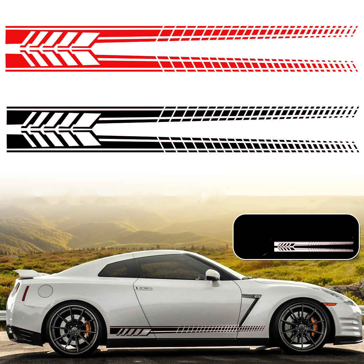 2pcs Stripes Left//Right Side Car Truck Stickers Vinyl Decal Graphics Waterproof