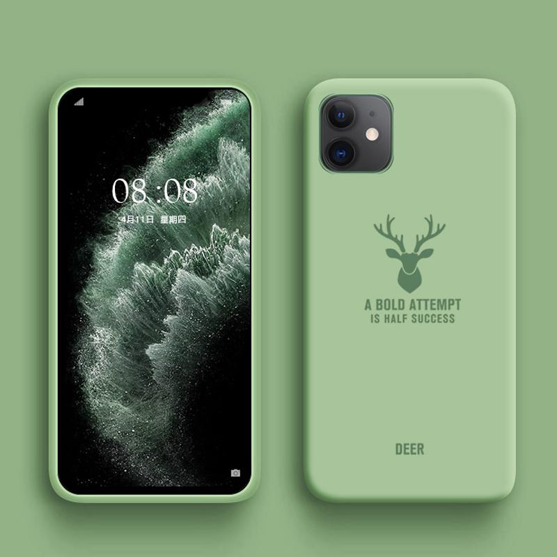 Bakeey Deer Шаблон Ударопрочный Soft Резиновая жидкость Силиконовый Защитный Чехол для iPhone 11 6.1 дюймов