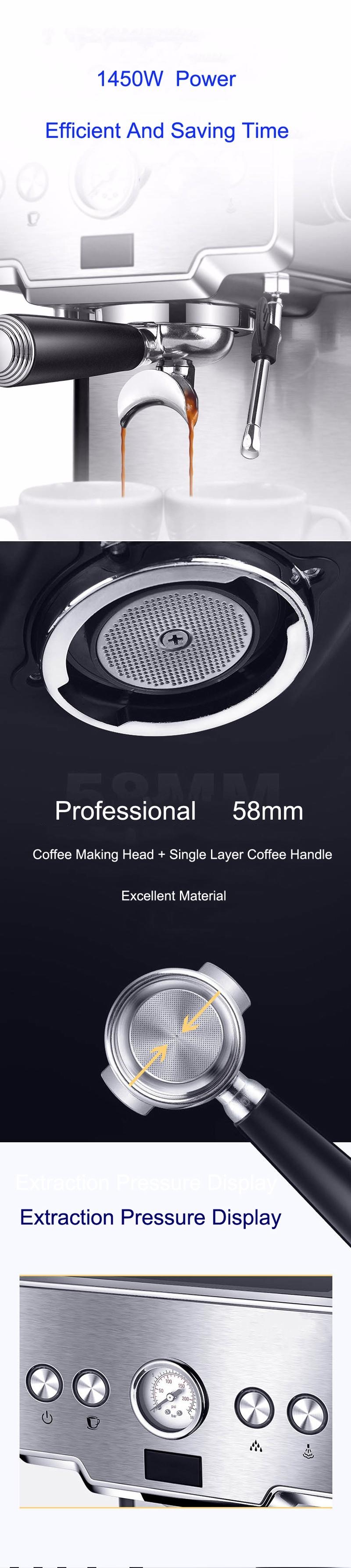 Gemilai CRM3605 kaffebryggare maskin rostfritt stål kaffemaskin 15 barer halvautomatisk kommersiell italiensk kaffebryggare