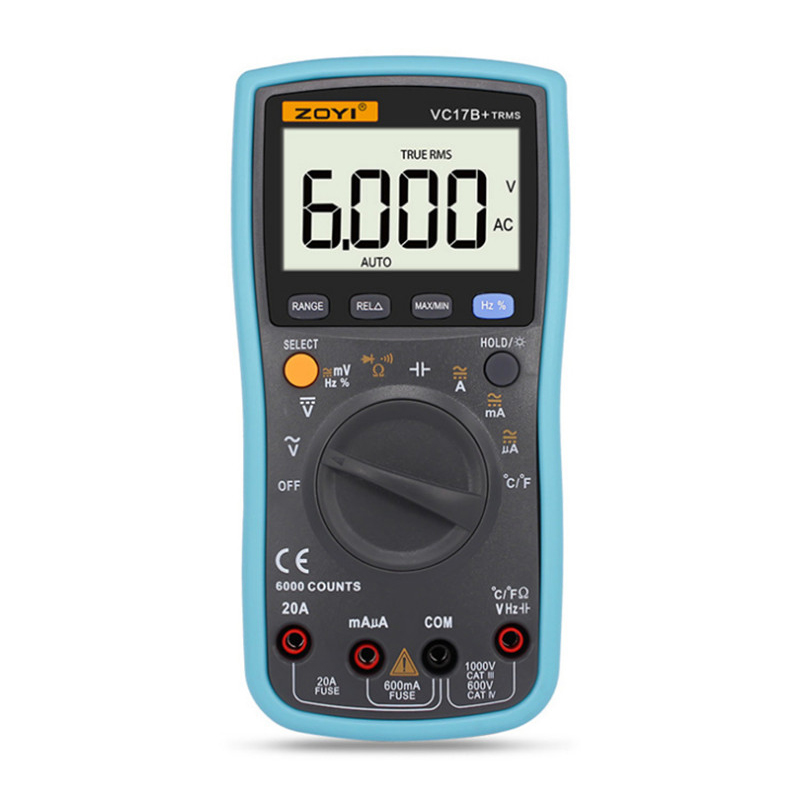 ZOYI VC17B+ 6000 Counts True-RMS Digital Multimeter Auto Range AC/DC Voltage Current Meter Ohm Diode Voltmeter