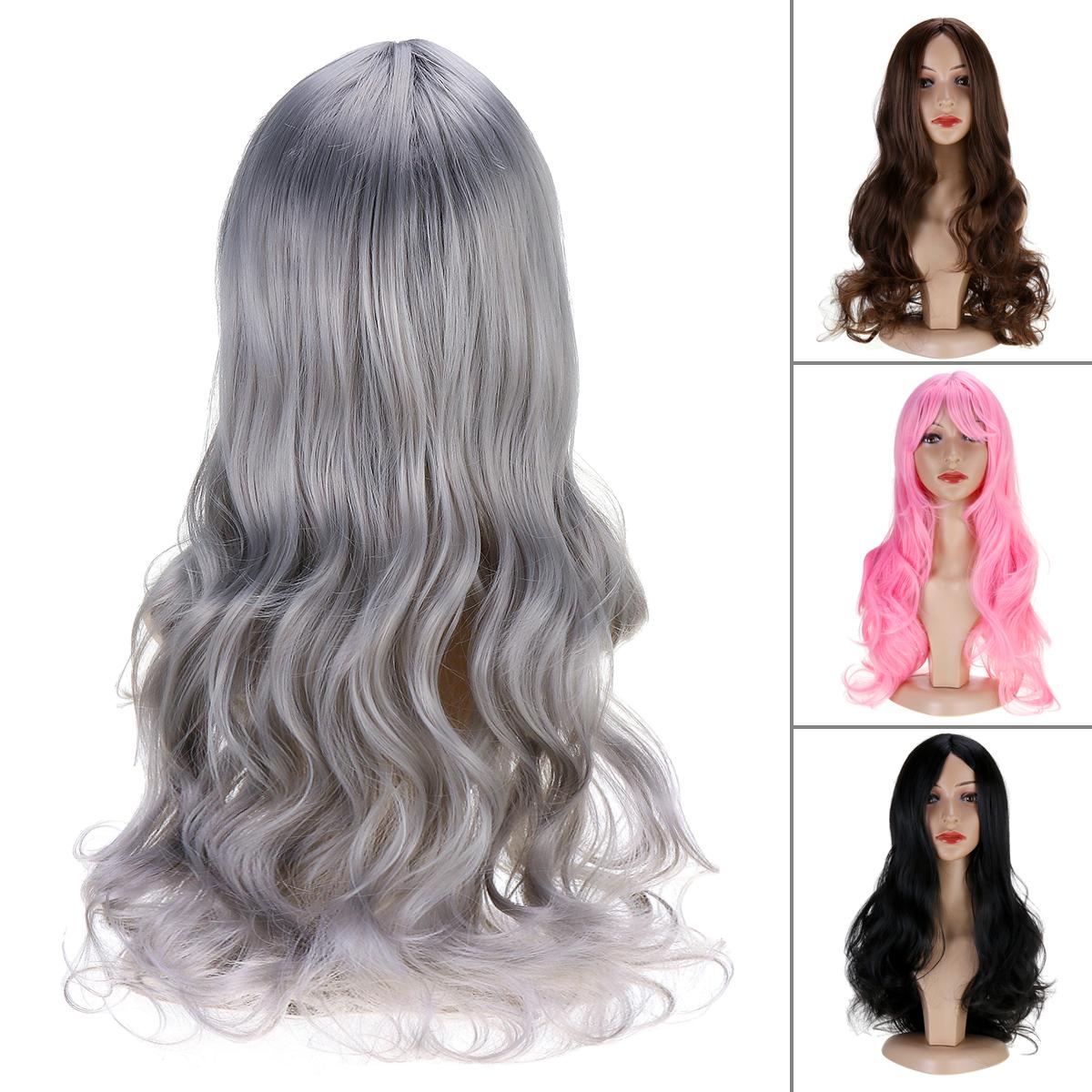 Женщины Парик Полностью волнистые Волосы Расширения Термостойкие Синтетические