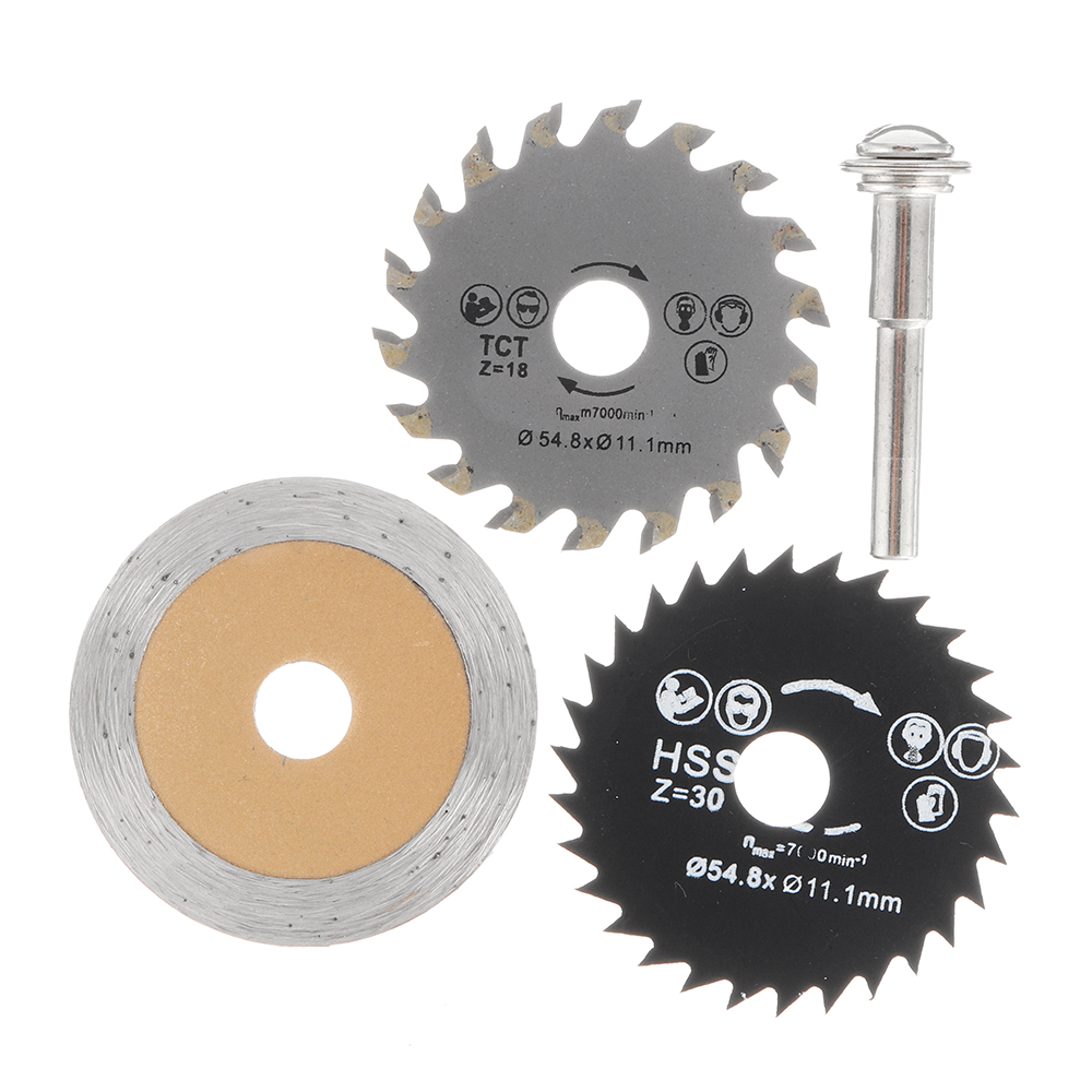 Drillpro 4Pcs HSS Circular Saw Blade Set 54.8mm Cutting Disc with 6mm Shank Rod For Rotary Tool Electric Drill