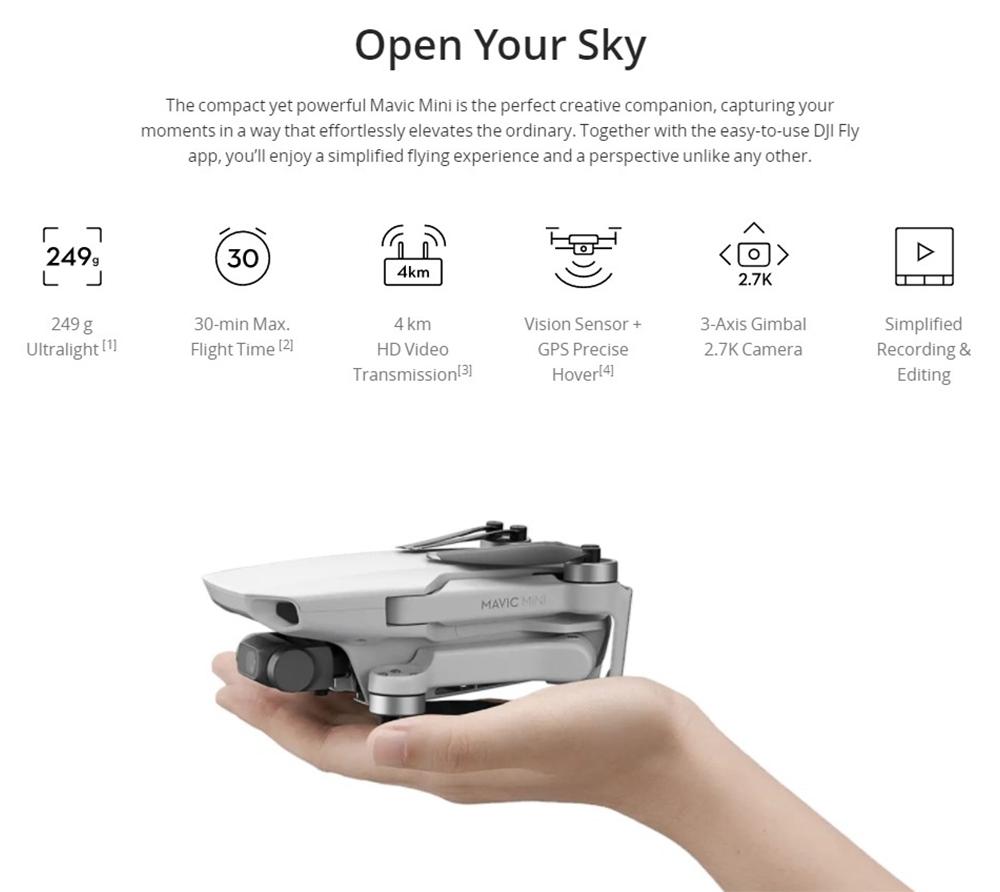 DJI Mavic Mini 4KM FPV with 2.7K Camera 3-Axis Gimbal 30mins Flight Time 249g Ultralight GPS RC Drone Quadcopter RTF 12