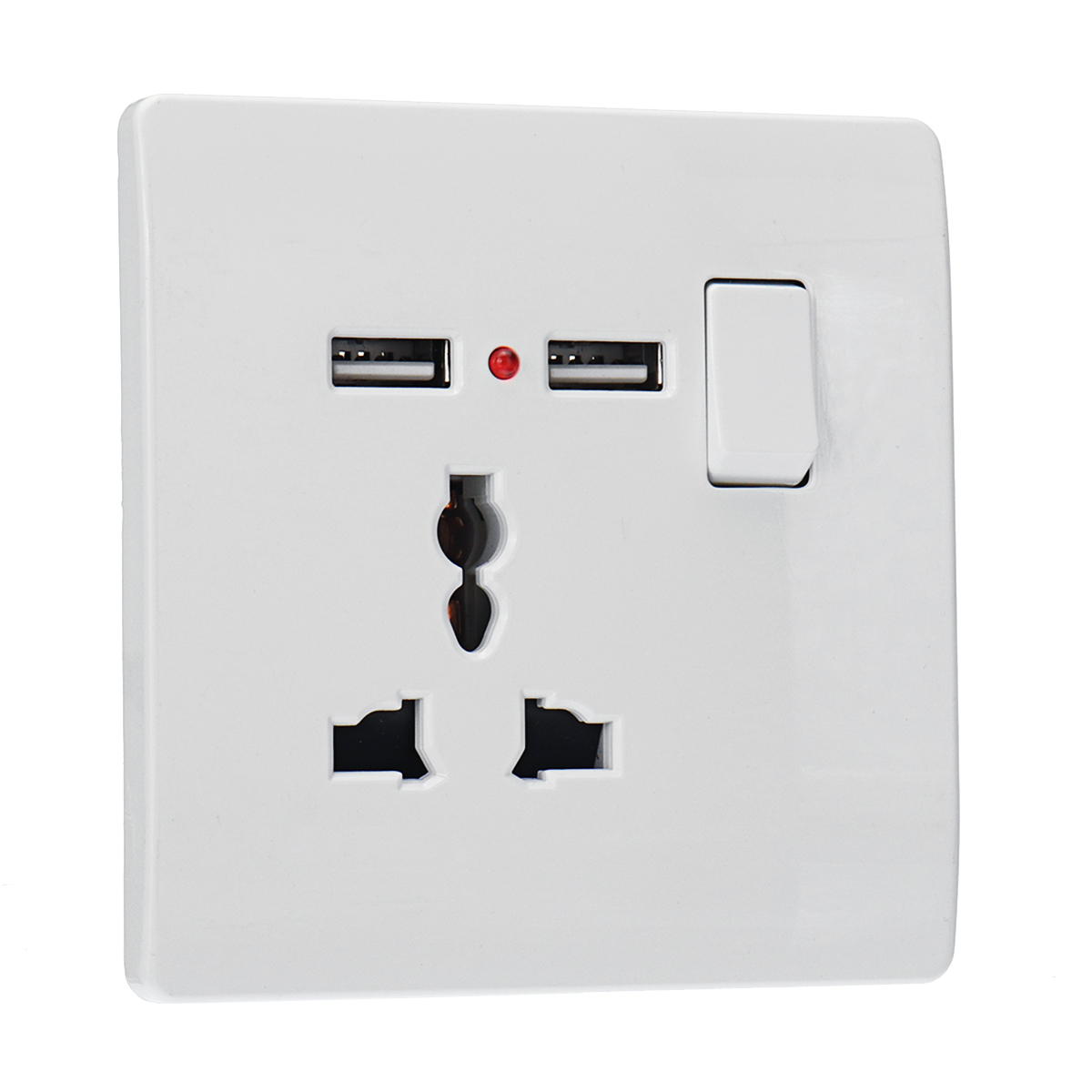 13A Wall Power Socket Switch Dual USB Charging Ports Connection Outlet Plate Plug Home