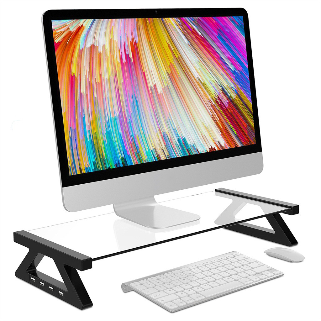 Aluminium Alloy Monitor Laptop Stand with 4 USB Ports 1