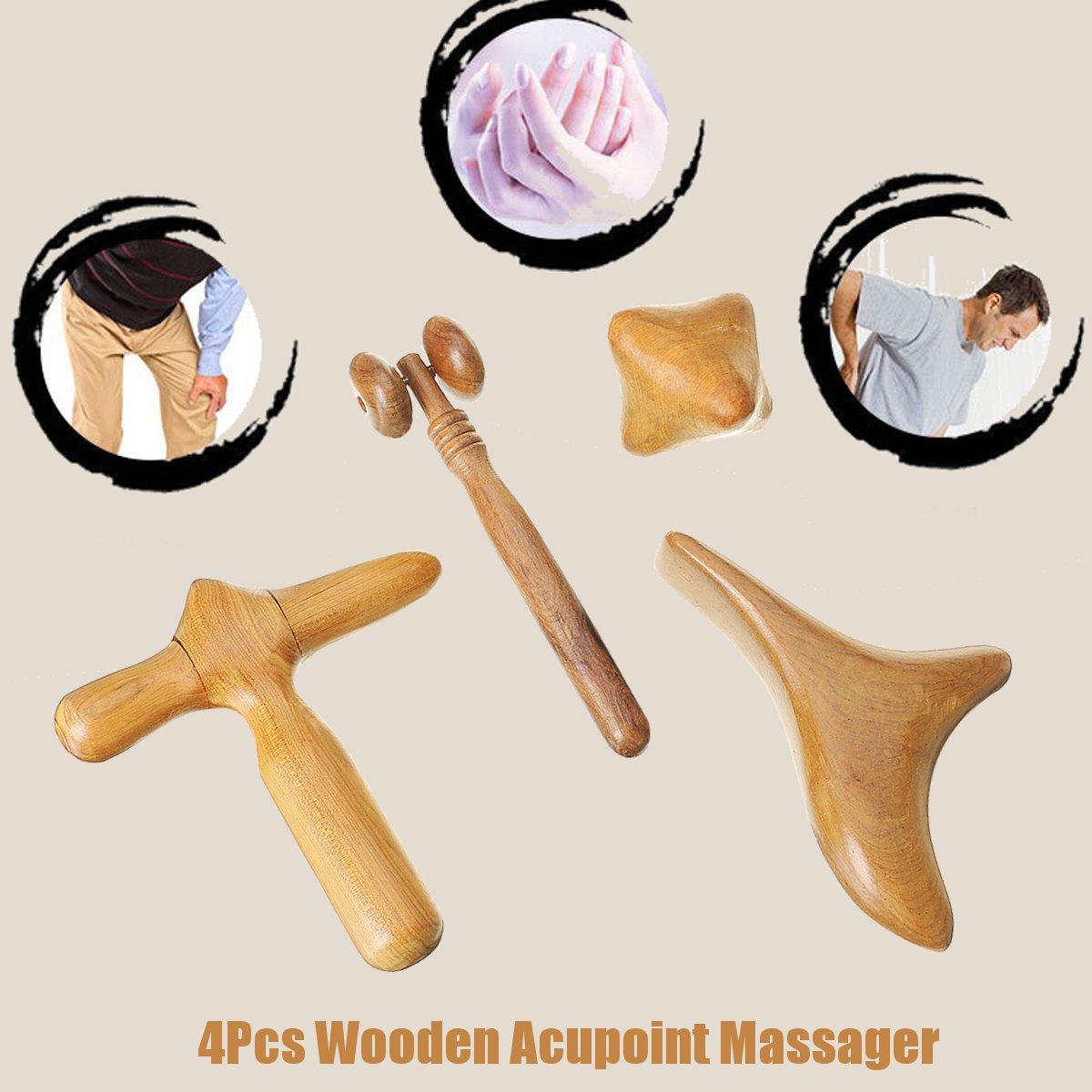 4шт деревянный массажер Acupoint Здоровье уход терапия для тела Relax Ролик Инструмент Set