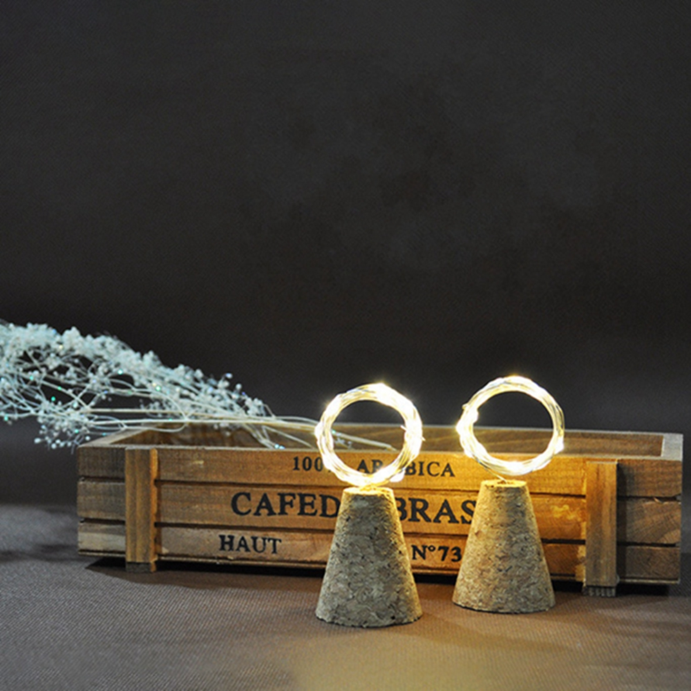 LUSTREON Waterproof Timer Setting Copper Wire 20LED Cork Bottle String Light for Bar Home Christmas Party
